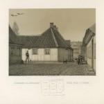 H.C. Andersens fødehjem 1868. Huset på Bangs Boder nr. 29 var her H.C. Andersen blev født. Familien boede her da de ikke havde råd til deres eget sted. Fødehjemmet lå i det der blev betragtet som byens værste slum, og helt op til 20 personer boede her.