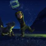 Kristoff og hans følgesvend, elgen Svenn som børn