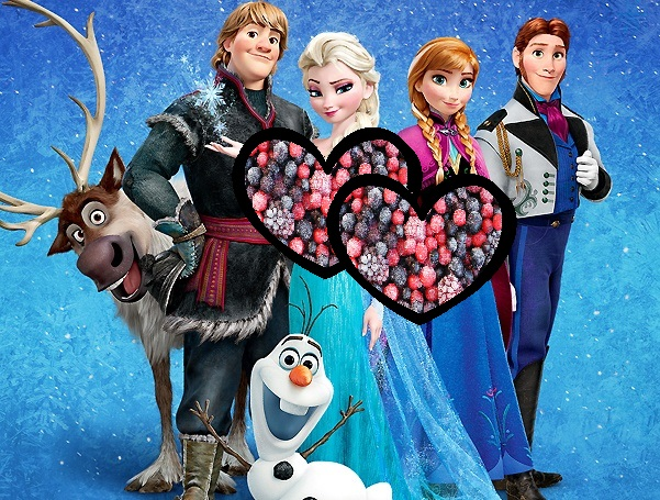 Frozen - The Movie med TING FRA FROST i hjerte, Kristoff, Sven, Olaf, Elsa, Anna, Hans. Prinser, prinsesser og dronning