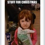 FROZEN STUFF FOR CHRISTMAS, utilfreds lille pige efter jul. Hun fik ting fra Frost.
